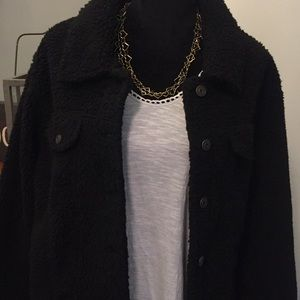 wild fable Jackets & Coats - NWT Fuzzy black, button down coat